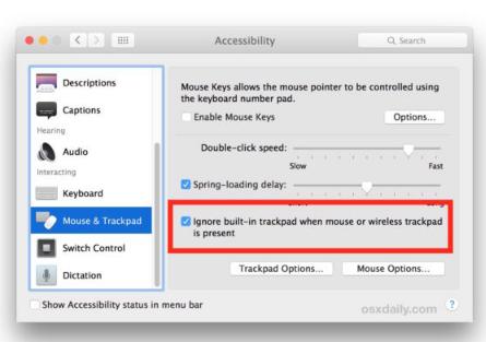 在MacBook上使用外部鼠标时忽略内置触控板输入