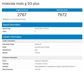 Moto G 5G Plus在正式发布的前一天通过Geekbench
